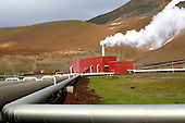 Geothermal power plant at the base of the Krafla volcano in Myvatn, Iceland.