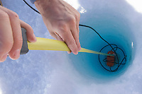 A seismometer buried in a hole drilled on the ice to detected and recorded vibrations and shifts in the Greenland ice sheet. By analyzing these motions, researchers can infer a great deal about the characteristics of the ice that the waves are traveling through, such as the structure and composition of the ice and hidden processes that create lake drainage cracks.
