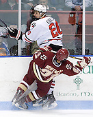 Luke Eibler (Northeastern - 20), Steven Whitney (BC - 21) - The Northeastern University Huskies defeated the visiting Boston College Eagles 2-1 on Saturday, February 19, 2011, at Matthews Arena in Boston, Massachusetts.