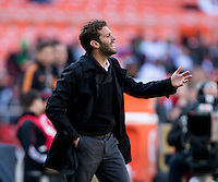 D.C. United head coach Ben Olsen talks to a referee during a Major League Soccer game at RFK Stadium in Washington, DC. D.C. United vs. Houston Dynamo, 2-1.