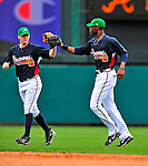 17 March 2009: Atlanta Braves' outfielder Jason Heyward (right) celebrates the victory of a Spring Training game against the New York Mets at Disney's Wide World of Sports in Orlando, Florida. The Braves defeated the Mets 5-1 in the Saint Patrick's Day Grapefruit League matchup. Mandatory Photo Credit: Ed Wolfstein Photo