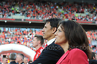 Wales manager Chris Coleman and tv presenter Frances Donovan watch match replays on the huge screens during the homecoming celebrations at the Cardiff City stadium on Friday 8th July 2016 for the Euro 2016 Wales International football squad.<br /> <br /> <br /> Jeff Thomas Photography -  www.jaypics.photoshelter.com - <br /> e-mail swansea1001@hotmail.co.uk -<br /> Mob: 07837 386244 -