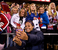 Sydney Leroux (2) of the USWNT takes a photo with fans after an international friendly at Crew Stadium in Columbus, OH. The USWNT tied New Zealand, 1-1.