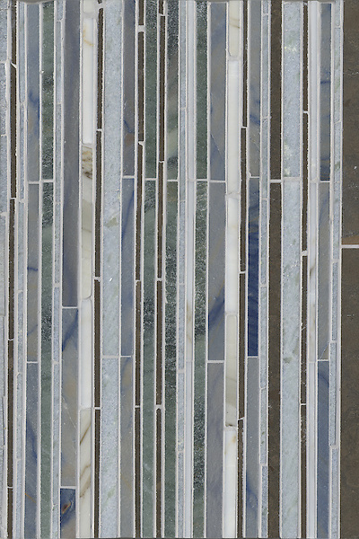 Name: Random Stripes<br /> Style: Contemporary<br /> Product Number: CB0738<br /> Description: Random Stripes in Montevideo (h), Calacatta Tia, Blue Macauba, Kays Green, Celeste (p)