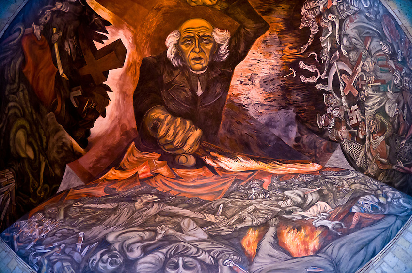 Mural by Jose Clemente Orozco featuring Miguel Hidalgo (leader of the Mexican War of Independence), Palacio de Gobierno (Government Palace), in the historic Center of Guadalajara, Jalisco, Mexico