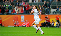 Lauren Cheney of team USA celebrates during the FIFA Women's World Cup at the FIFA Stadium in Moenchengladbach, Germany on July 13th, 2011.