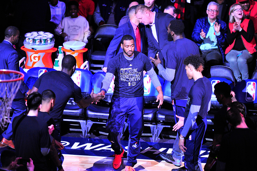 John Wall gets a nice cheer from fans during player introduction prior to tip-off against the Cavaliers at the Verizon Center in Washington, D.C. on Monday, February 6, 2017.  Alan P. Santos/DC Sports Box