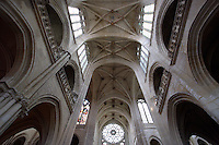OISE, FRANCE - OCTOBER 26: Low angle view of the ceiling of the ribbed vault of the Cathedral Notre-Dame de Senlis on October 26, 2008 in Oise, France. The cathedral was built between 1153 and 1191. (Photo by Manuel Cohen)