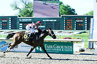 NEW ORLEANS, LA - APRIL 01: Farrell #6 ridden by Channing Hill wins the Fairgrounds Oaks at Fairgrounds Race Course on April 1,2017 in New Orleans, Louisiana. (Photo by Steve Dalmado/Eclipse Sportswire/Getty Images)