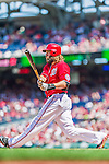 23 August 2015: Washington Nationals outfielder Jayson Werth in action against the Milwaukee Brewers at Nationals Park in Washington, DC. The Nationals defeated the Brewers 9-5 in the third game of their 3-game weekend series. Mandatory Credit: Ed Wolfstein Photo *** RAW (NEF) Image File Available ***