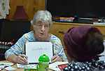 Maryann Wingert, a local volunteer, teaches a class in English as a Second Language at the Posada Providencia, a shelter in San Benito, Texas. Sponsored by the Catholic Sisters of Divine Providence, the Posada is a safe space for people in crisis from all over the world who are seeking legal refuge in the United States.