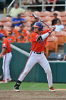 First baseman Seth Beer (28) of the Clemson Tigers bats during a Purple-Orange fall scrimmage on Sunday, October 2, 2016, at Doug Kingsmore Stadium in Clemson, South Carolina. (Tom Priddy/Four Seam Images)