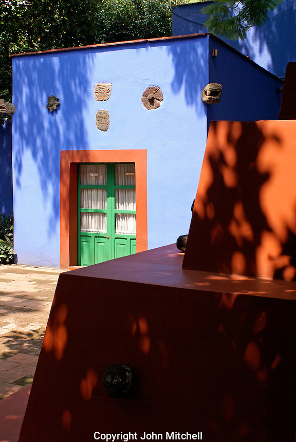 Interir courtyar at the Museo Frida Kahlo, also known as the Casa Azul, or Blue house, Coyoacan, Mexico City