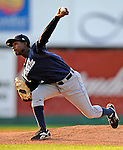 19 June 2008: Oneonta Tigers pitcher Darwin DeLeon in action against the Vermont Lake Monsters at historic Centennial Field in Burlington, Vermont. The Tigers defeated the Lake Monsters 13-8 in the rubber match of their three-game season opening series in Vermont...Mandatory Credit: Ed Wolfstein Photo