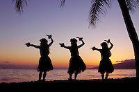 Three hula dancers perform at sunset framed by a palm tree at Olowalu, Maui, Hawaii, USA.