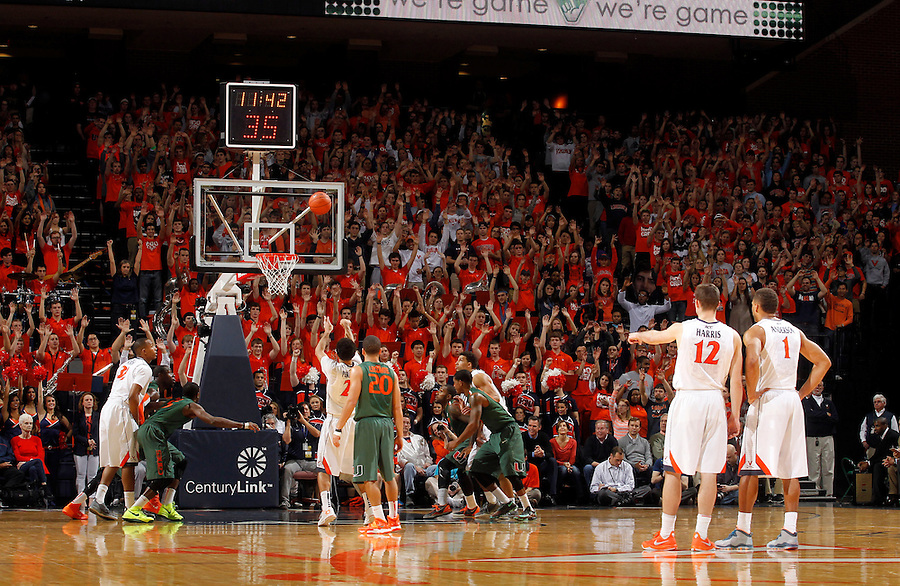 Free throw during an NCAA basketball game Saturday Feb, 24, 2014 in Charlottesville, VA. Virginia defeated Miami 65-40.
