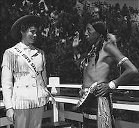 1954 Miss South Dakota, Cleo Harrington with Benjamin Black Elk at Rushmore July 23