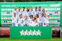 The victorious France Women's team celebrate with the World University Championship Rugby Sevens trophy. FISU World University Championship Rugby Sevens Closing Ceremony on July 9, 2016 at the Swansea University International Sports Village in Swansea, Wales. Photo by: Patrick Khachfe / Onside Images