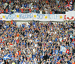 Rangers fans celebrate a world record 50 league titles as last gasp joy comes to Ibrox as Rangers win the SPL on goal difference from rivals Celtic