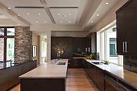 The clean architectural kitchen expands the great room