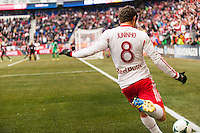 Juninho (8) of the New York Red Bulls takes a corner kick. The New York Red Bulls and D. C. United played to a 0-0 tie during a Major League Soccer (MLS) match at Red Bull Arena in Harrison, NJ, on March 16, 2013.