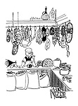 (A shopkeeper in a delicatessen is wearing a breathing apparatus because of all the pungent smells)