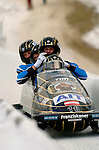 20 November 2005: Wolfgang Stampfer, pilot of the Austria 1 sled,  crosses the finish line for a 12th place finish at the 2005 FIBT  AIT World Cup Men's 4-Man Bobsleigh Tour at the Verizon Sports  Complex, in Lake Placid, NY. Mandatory Photo Credit: Ed Wolfstein.
