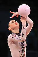 "ALINA MAKSYMENKO  of Ukraine performs in Event Finals at 2011 World Cup Kiev, ""Deriugina Cup"" in Kiev, Ukraine on May 8, 2011."
