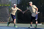 23 April 2015: Alex Lawson (left) and Billy Pecor (right). The Notre Dame University Fighting Irish played the Georgia Tech University Ramblin' Wreck at the Cary Tennis Park in Cary, North Carolina in a 2015 NCAA Division I Men's Tennis and Atlantic Coast Conference Tournament First Round match. Georgia Tech won the match 4-0.