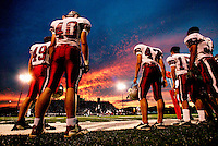 Sideline at the Westlake-Smithson Valley high school football game, Comal County, Texas, September 23 2004.