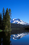 Morning light on South Sister reflected in Sparks Lake, Deschutes National Forest, Oregon.