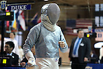 12 February 2017: Duke's Jennifer Ling during Saber. The Duke University Blue Devils hosted the University of North Carolina Tar Heels at Card Gym in Durham, North Carolina in a 2017 College Women's Fencing match. Duke won the dual match 14-13 overall and 7-2 in Epee. UNC won Foil 6-3 and Saber 5-4.