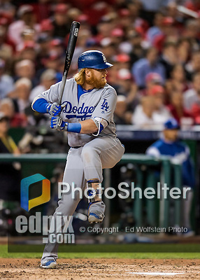 13 October 2016: Los Angeles Dodgers third baseman Justin Turner in action during the NLDS Game 5 against the Washington Nationals at Nationals Park in Washington, DC. The Dodgers edged out the Nationals 4-3, to take Game 5, and the Series, 3 games to 2, moving on to the National League Championship against the Chicago Cubs. Mandatory Credit: Ed Wolfstein Photo *** RAW (NEF) Image File Available ***