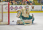 16 November 2013: University of Vermont Catamount Goaltender Mike Santaguida, a Freshman from Mississauga, Ontario, makes a first period save against the Providence College Friars at Gutterson Fieldhouse in Burlington, Vermont. The Friars shut out the Catamounts to sweep the 2-game weekend Hockey East Series. Mandatory Credit: Ed Wolfstein Photo *** RAW (NEF) Image File Available ***