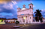 Santa Lucia Cathedral is situated in the main plaza of the cobblestoned streets of the historic colonial town of Suchitoto, El Salvador.  The cathedral was built in 1853 and is one the best examples of post-colonial architecture in El Salvador..