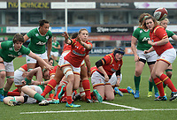 Wales' Keira Bevan whips the ball out<br /> <br /> Photographer Ian Cook/CameraSport<br /> <br /> Women's Six Nations Round 4 - Wales Women v Ireland Women - Saturday 11th March 2017 - Cardiff Arms Park - Cardiff<br /> <br /> World Copyright &copy; 2017 CameraSport. All rights reserved. 43 Linden Ave. Countesthorpe. Leicester. England. LE8 5PG - Tel: +44 (0) 116 277 4147 - admin@camerasport.com - www.camerasport.com