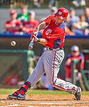 7 March 2013: Washington Nationals infielder Matt Skole connects for a double during a Spring Training game against the Houston Astros at Osceola County Stadium in Kissimmee, Florida. The Astros defeated the Nationals 4-2 in Grapefruit League play. Mandatory Credit: Ed Wolfstein Photo *** RAW (NEF) Image File Available ***