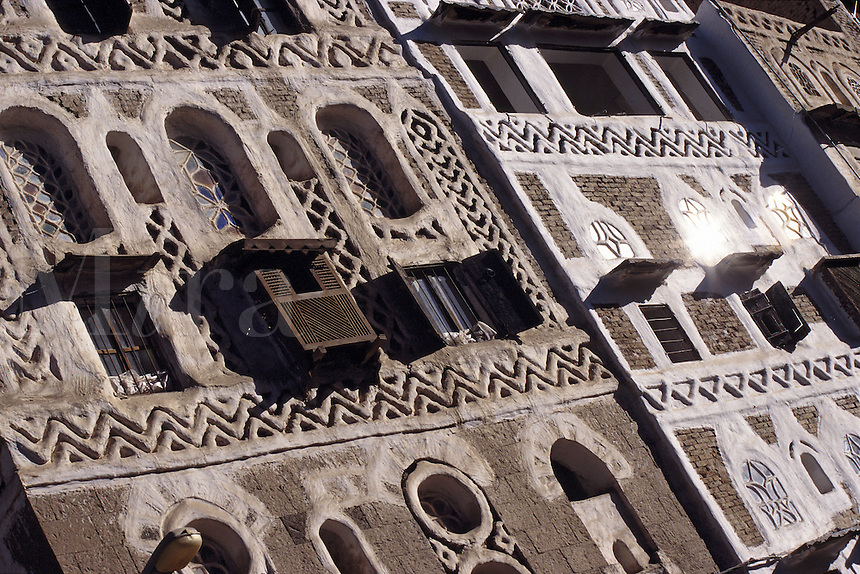 Intricate building facades Sana a North Yemen.