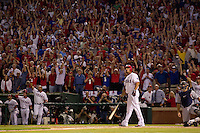 ARLINGTON, TX - OCTOBER 10: Nelson Cruz hits a walk-off grand slam home run in the 11th inning of Game 2 of the 2011 American League Championship Series between the Detroit Tigers and Texas Rangers. Photographed at Rangers Ballpark in Arlington, Texas on October 10, 2011.(Photograph &copy;2011 Darren Carroll)