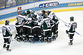 The Spartans huddle around their net prior to the opening faceoff. The Michigan State Spartans defeated the Boston College Eagles 3-1 (EN) to win the national championship in the final game of the 2007 Frozen Four at the Scottrade Center in St. Louis, Missouri on Saturday, April 7, 2007.