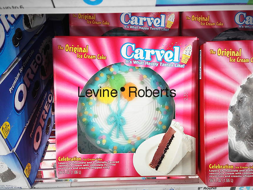 Carvel brand ice cream cakes in a supermarket freezer in New York on Thursday, April 7, 2016. Carvel, primarily a Northeast chain, recently announced expansion plans across the country in an arrangement with the Cinnabon and Auntie Annes' chains. All three brands are owned by Focus Brands. The 82 year old Carvel brand has over 400 locations on the East Coast and in Florida. (© Richard B. Levine)