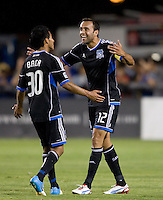 Ramiro Corrales of Earthquakes celebrates with Rafael Baca after Corrales scored a goal during the second half of the game against Chivas USA at Buck Shaw Stadium in Santa Clara, California on September 2nd, 2012.   San Jose Earthquakes defeated Chivas USA, 4-0.