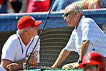 12 March 2011: Washington Nationals' first base coach Dan Radinson (left), chats with team owner Mark Lerner prior to a Spring Training game against the New York Yankees at Space Coast Stadium in Viera, Florida. The Nationals edged out the Yankees 6-5 in Grapefruit League action. Mandatory Credit: Ed Wolfstein Photo