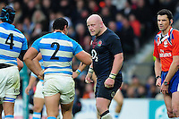 Dan Cole of England has a word with Agustin Creevy of Argentina after being yellow carded. Old Mutual Wealth Series International match between England and Argentina on November 26, 2016 at Twickenham Stadium in London, England. Photo by: Patrick Khachfe / Onside Images
