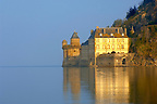 Mont Saint-Michel wall at high tide - Gabriel Tower &amp; Hayloft  - Brittany - France