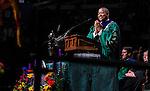 Ohio University President Roderick McDavis applaudes the university's graduate students at the start of Graduate Commencement on Friday, May 1, 2015.  Photo by Ohio University  /  Rob Hardin