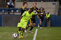 Sanna Nyassi(23) lines up the shot for his first goal in the Seattle Sounders win over the Columbus Crew 2-1 for the 2010 US Open Cup Championship at the XBox 360 Pitch at Quest Field in Seattle, WA on October 5, 2010.