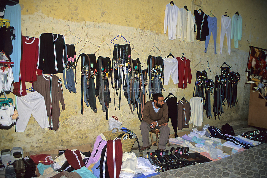 Fez, Morocco - Belt and Clothing Vendor.