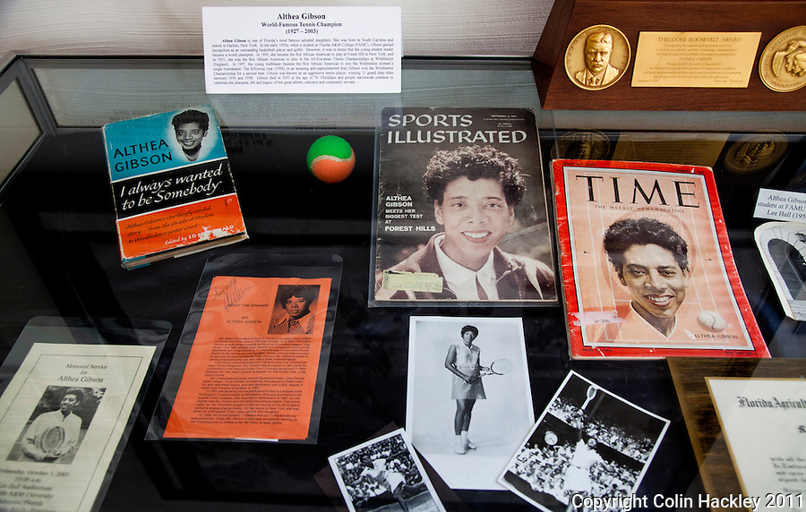ALTHEA GIBSON: The tennis achievements of Rattler alumnus Althea Gibson are honored in a display at The Black Archives in Tallahassee. .COLIN HACKLEY PHOTO
