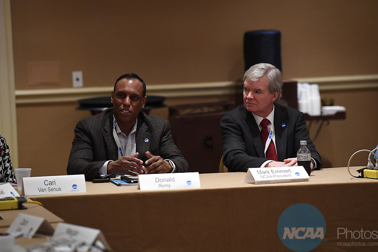 17 JAN 2017:  The NCAA Division III SAAC meeting takes place during the 2017 NCAA Convention takes place at the Gaylord Opryland Resort & Convention Center in Nashville, TN. Justin Tafoya/NCAA Photos (Pictured: Donald Remy and Mark Emmert)
